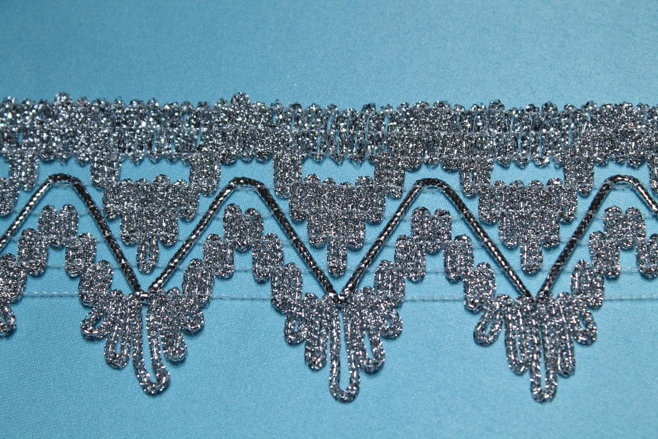 Бахрома металлизированная отделочная  серебренная с зубчатым краем