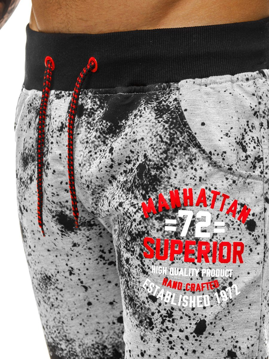 Брюки  спортивные светло-серые с логотипом