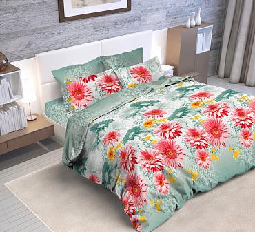 Ткань постельная Бязь набивная 2.2 м (Герберы) Красная талька