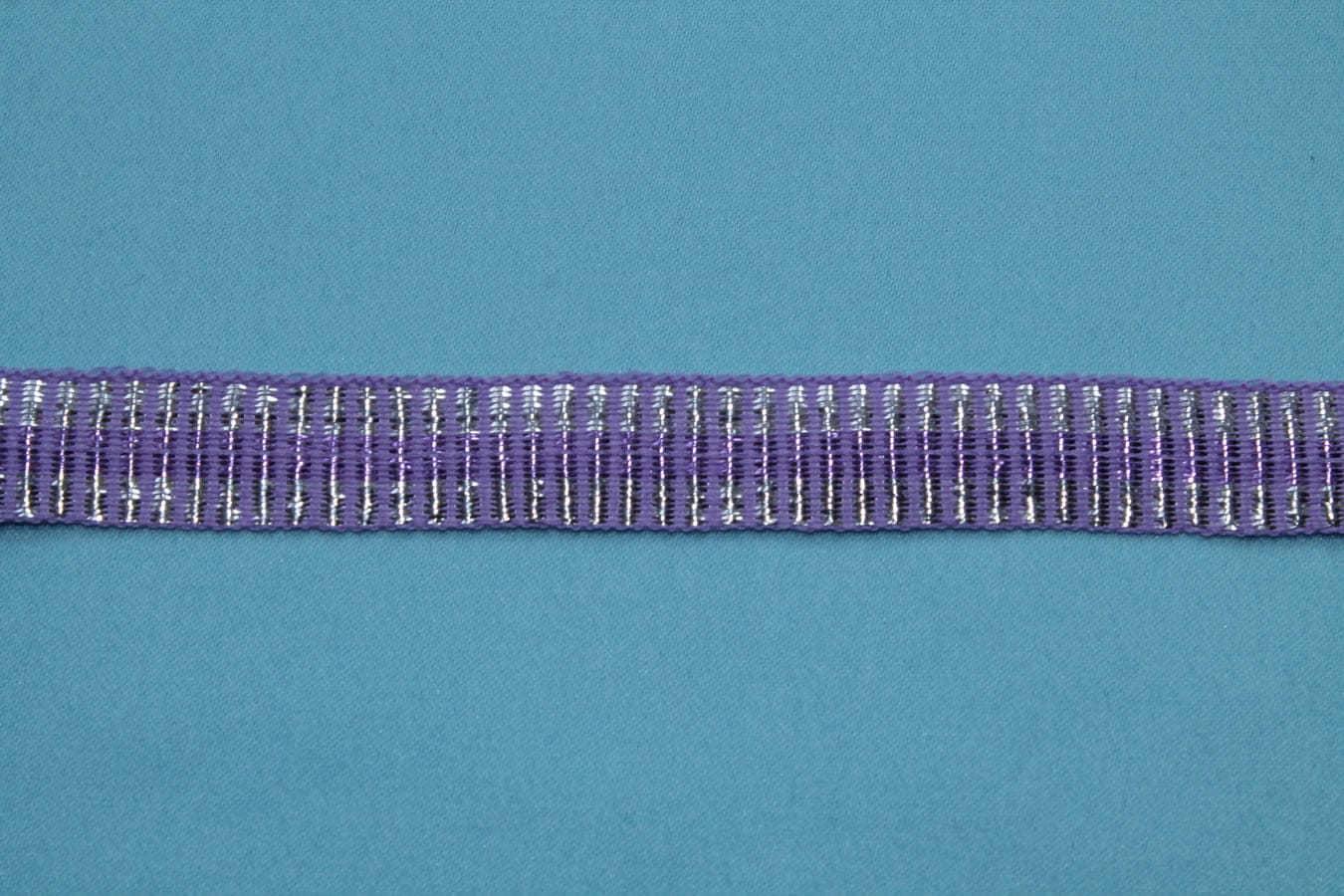 Тесьма декоративная фиолетовая переплетенная  с серебряной нитью, ширина 1,4см,  фиолетовый