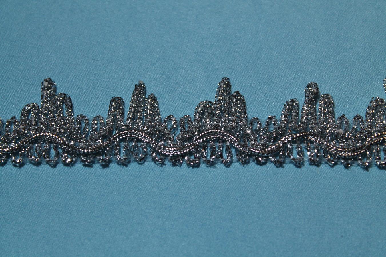 Бахрома металлизированная отделочная с зубчиками серебренная