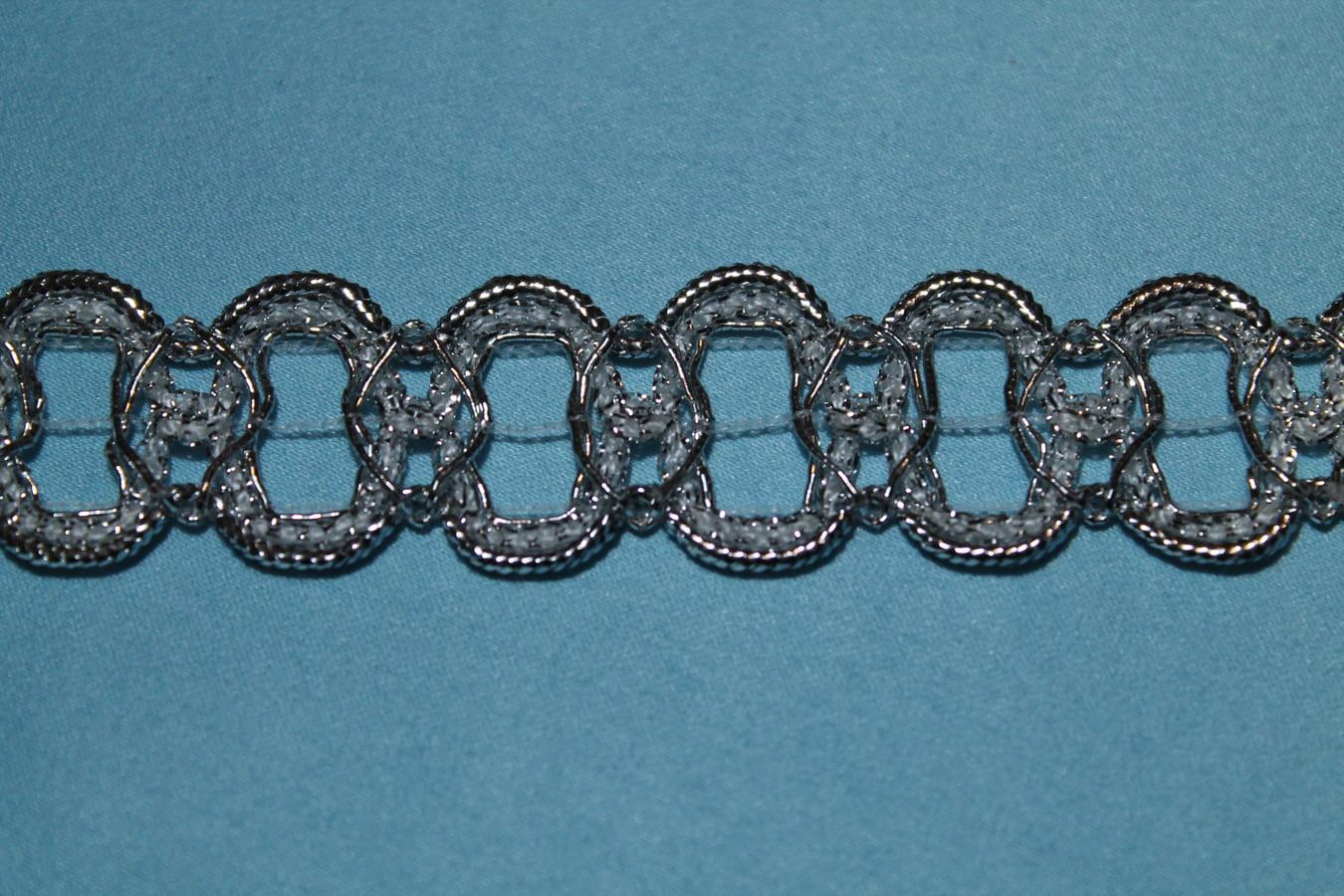 Тесьма металлизированная декоративная серебренная