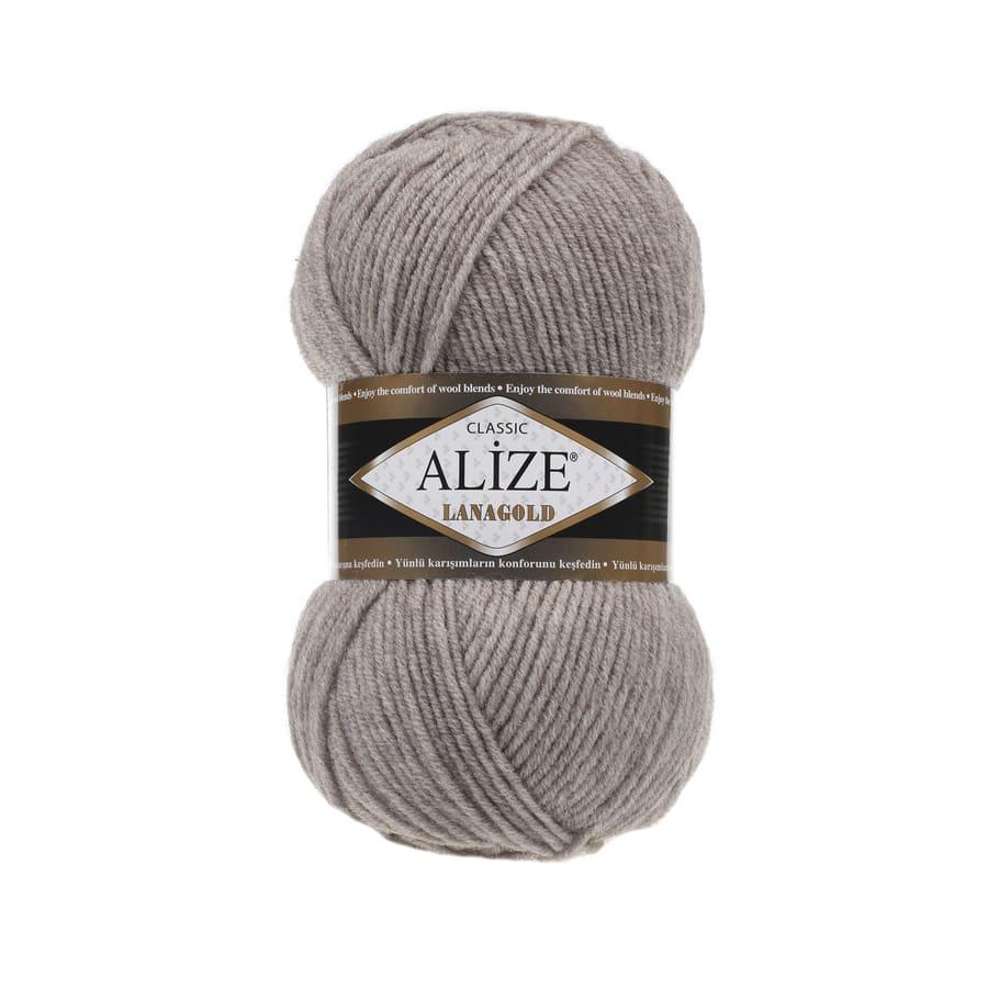 Пряжа LANAGOLD (Alize), цвет 207 светло-коричневый меланж