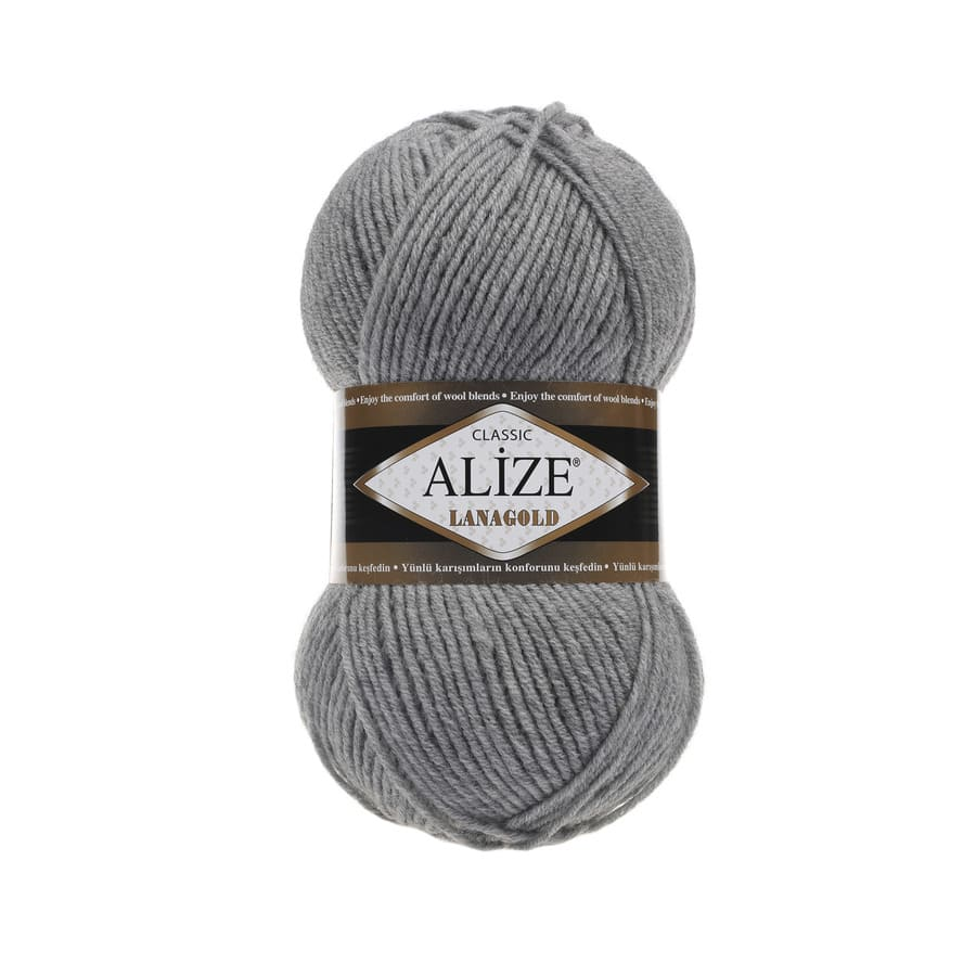 Пряжа LANAGOLD (Alize), цвет 21 серый меланж