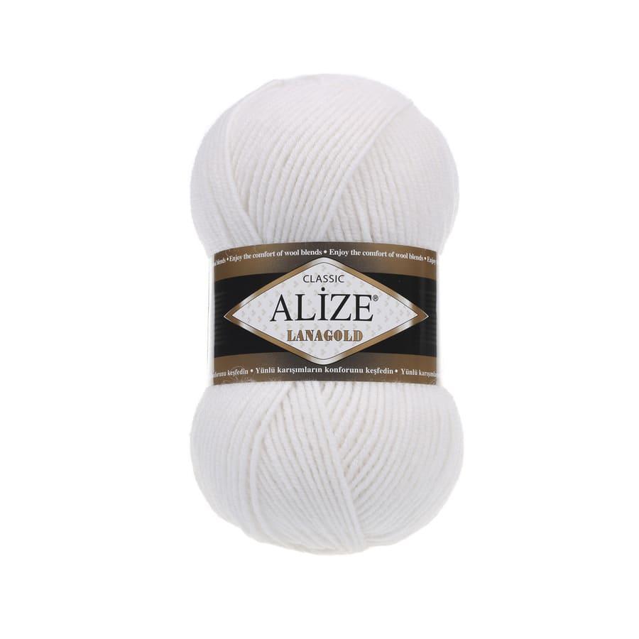 Пряжа LANAGOLD (Alize), цвет 55 белый