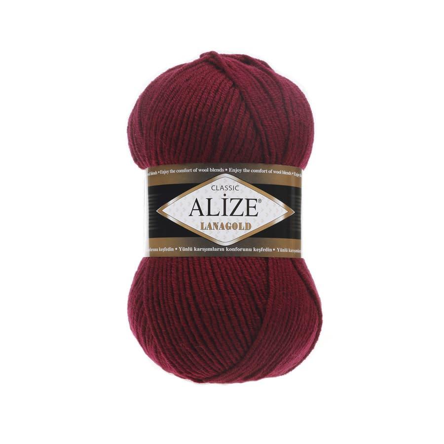Пряжа LANAGOLD (Alize), цвет 57 бордовый