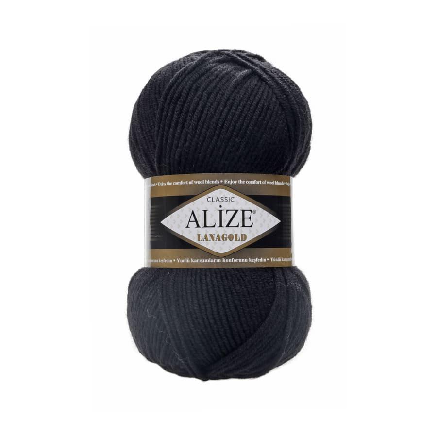 Пряжа LANAGOLD (Alize), цвет 60 черный