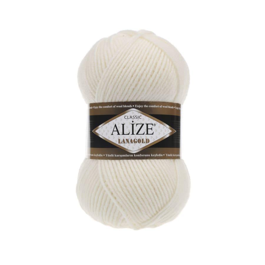 Пряжа LANAGOLD (Alize), цвет 62 молочный