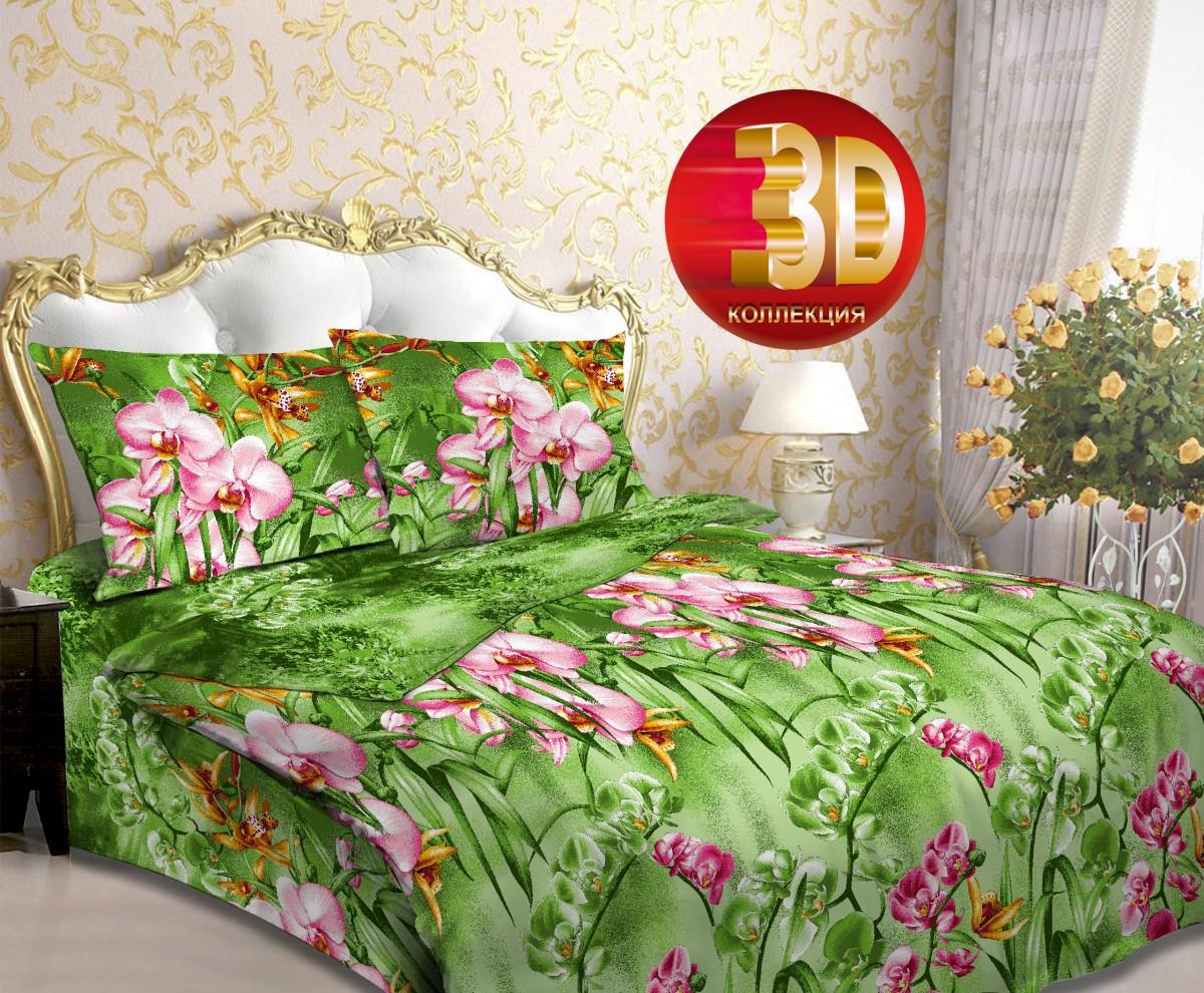 Ткань постельная Бязь набивная 2.2 м (Орхидея в саду) Красная талька