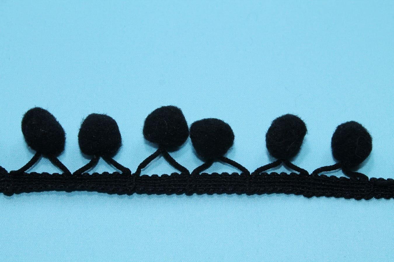 Тесьма декоративная с помпонами черная, ширина 2,5 см