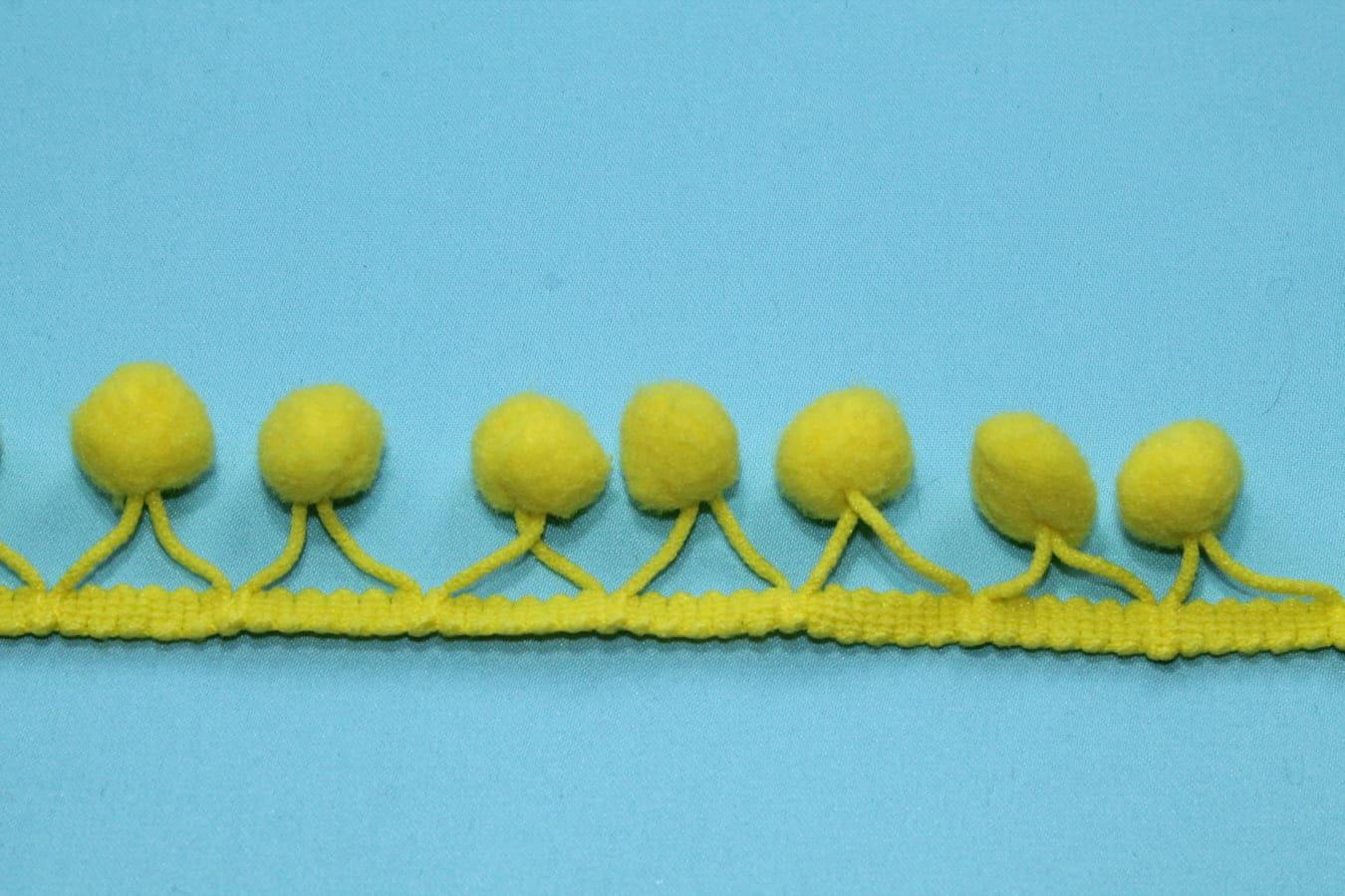 Тесьма декоративная с помпонами желтая, ширина 2,5 см