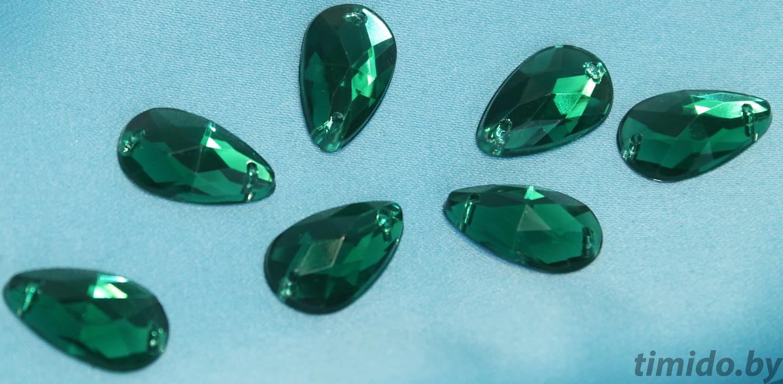 "Стразы пластиковые, форма ""Капля"", 13х18 мм, зеленые."