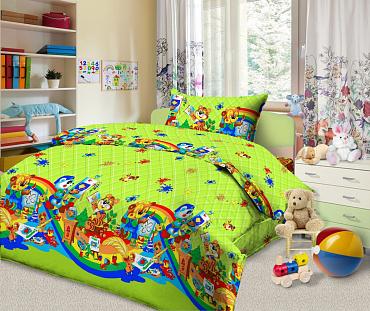 Ткань постельная детская  Бязь набивная 1.5 м (Веселый художник) Красная талька