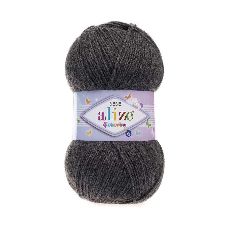 Пряжа Sekerim BEBE  (Alize), цвет 196 угольно-серый меланж