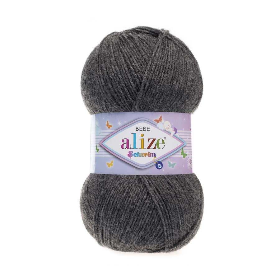 Пряжа Sekerim BEBE  (Alize), цвет 197 темно-серый меланж