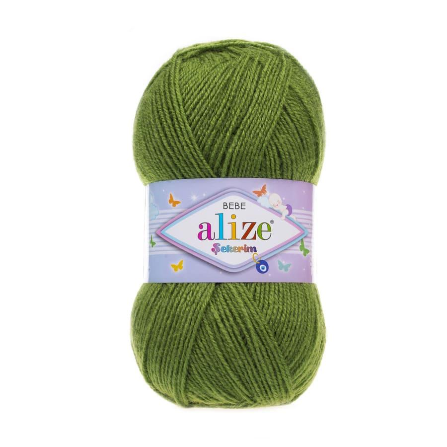 Пряжа Sekerim BEBE  (Alize), цвет 210 зеленый