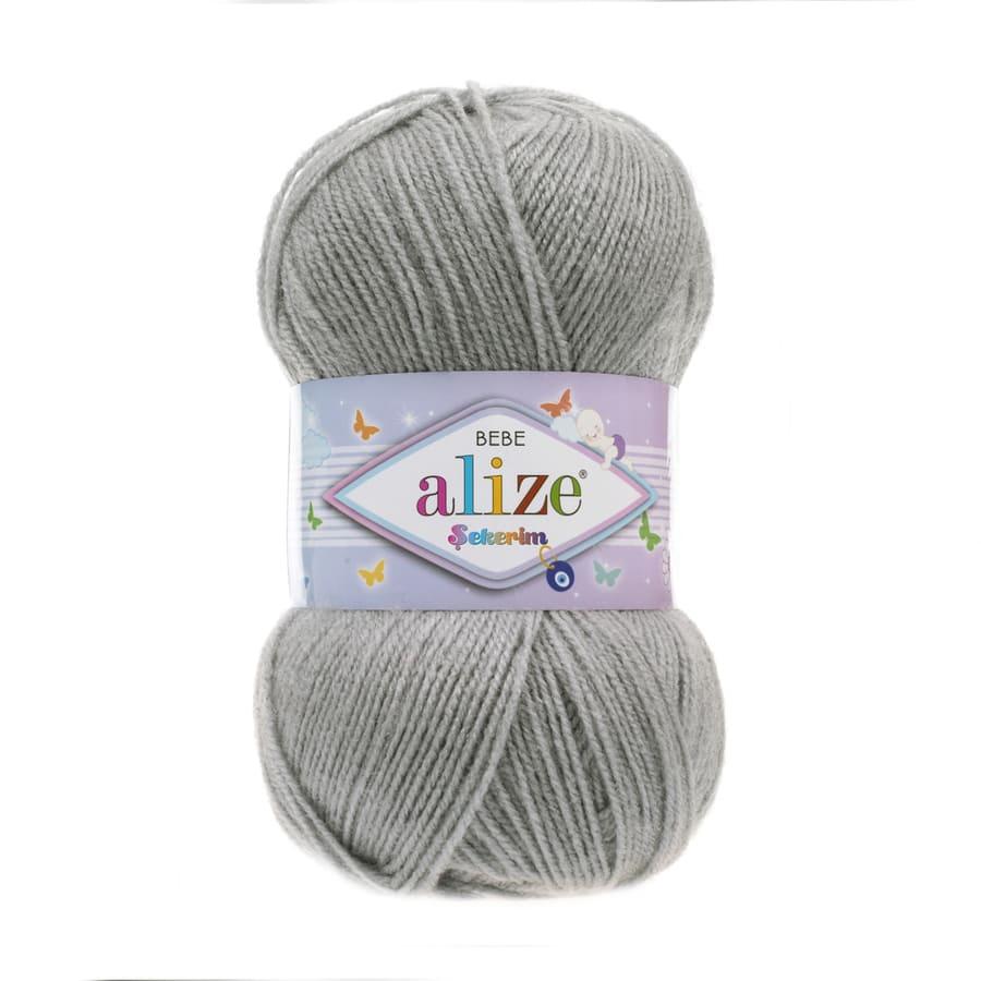 Пряжа Sekerim BEBE  (Alize), цвет 344 серый меланж