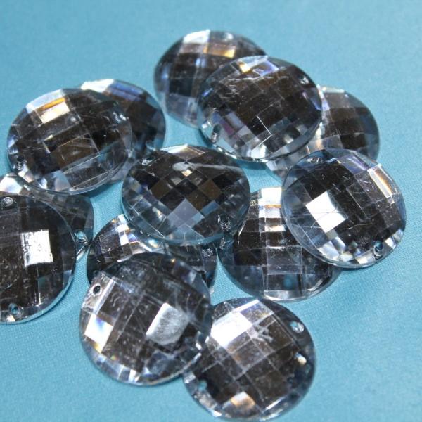 Стразы декоративные круглые с огранкой 16 мм прозрачные
