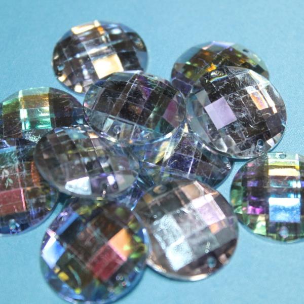 Стразы декоративные круглые с огранкой 14 мм радужные