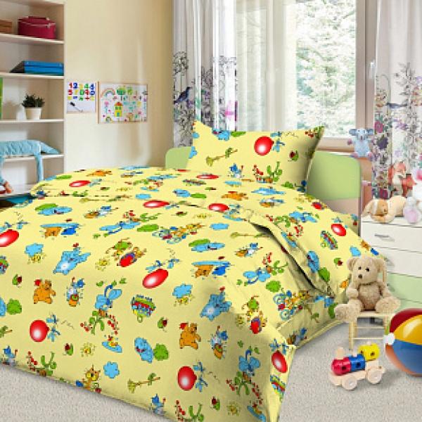 Ткань постельная детская Бязь набивная 1.5 м (Зоопарк) Красная талька