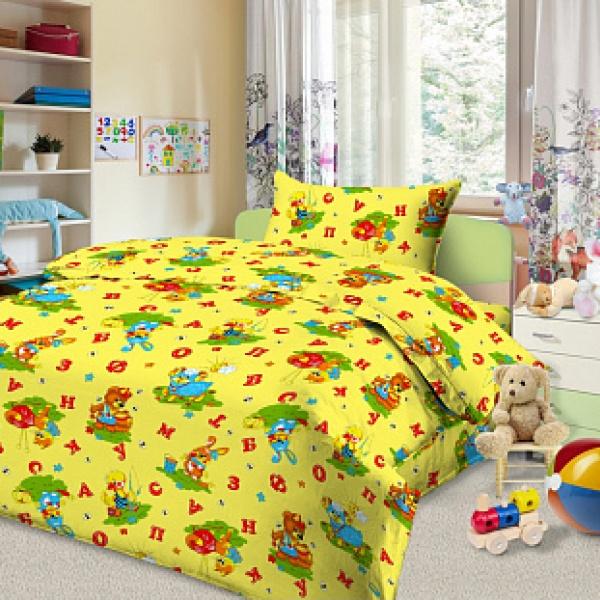 Ткань постельная детская  Бязь набивная 1.5 м (Веселый алфавит) Красная талька