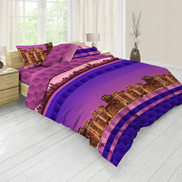 Ткань постельная Бязь набивная 2.2 м (Город) Красная талька