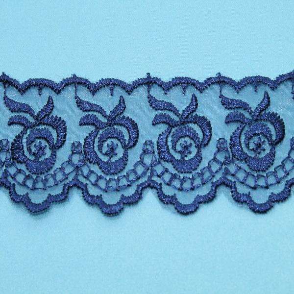 Декоративная тесьма -кружево органза с рисунком, ширина 4,5 см. синяя