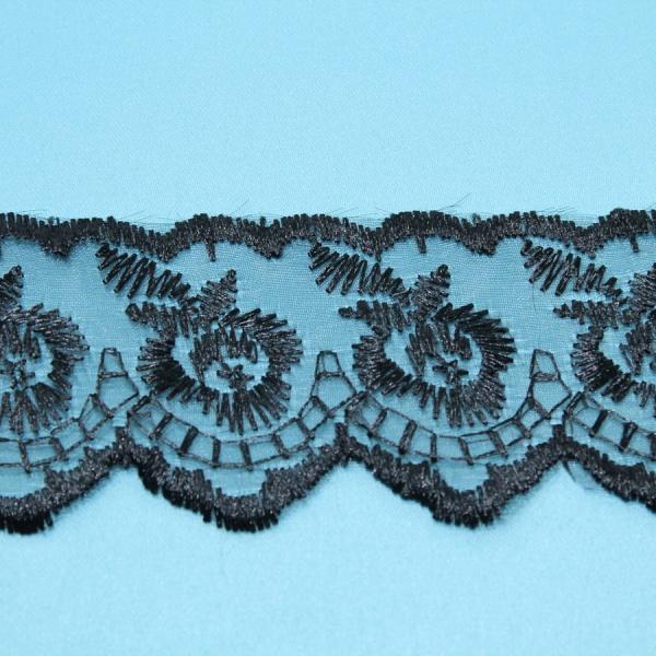 Декоративная тесьма -кружево органза с рисунком, ширина 4 см. черная
