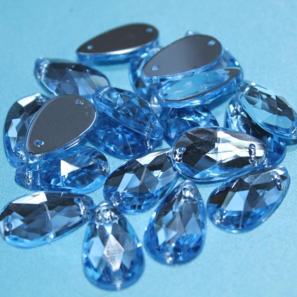 """Стразы пластиковые, формы """"Капля"""", 13х18 мм, голубые."""