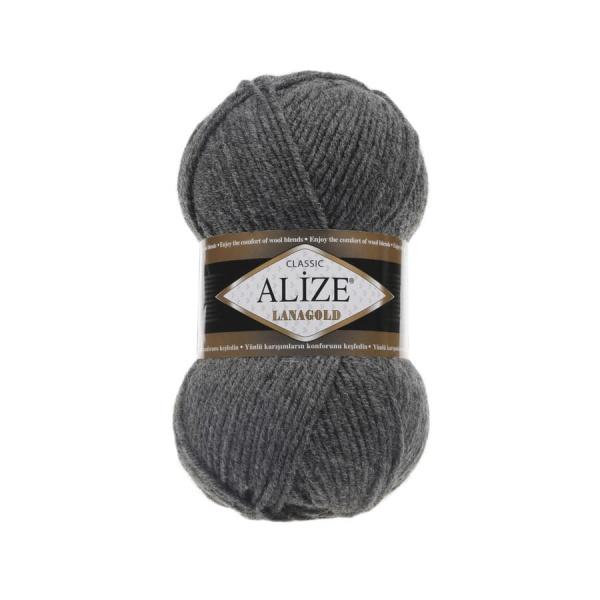 Пряжа LANAGOLD (Alize), цвет 182 средне-серый меланж
