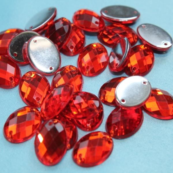 Стразы пластиковые, овальные, 10х15 мм, оранжевые.