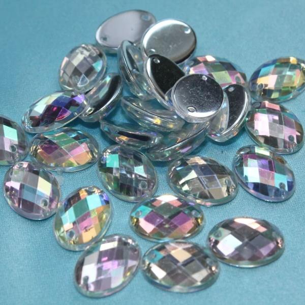 Стразы пластиковые, овальные, 10х15 мм, радужные.