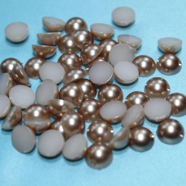 Полубусина круглая, 8 мм коричневая
