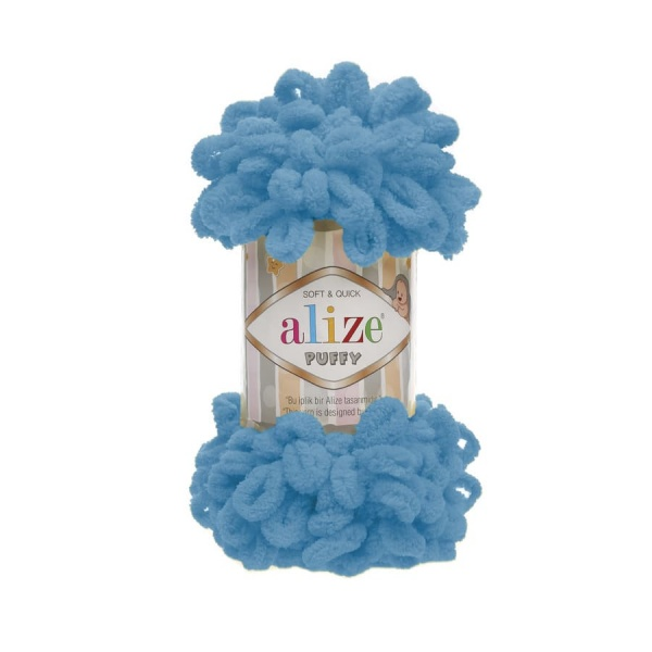 Пряжа PUFFY (Alize), цвет 16 голубой сочи