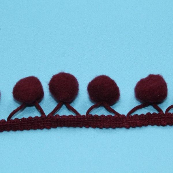 Тесьма декоративная с помпонами бордовая, ширина 2,5 см