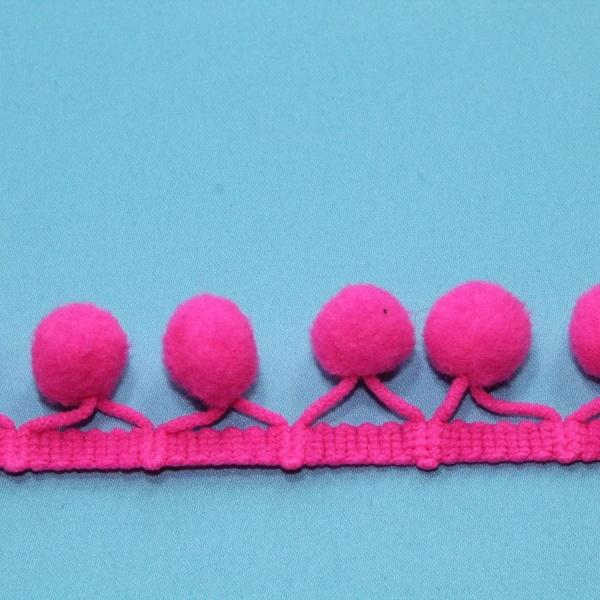 Тесьма декоративная с помпонами малиновая, ширина 2,5 см