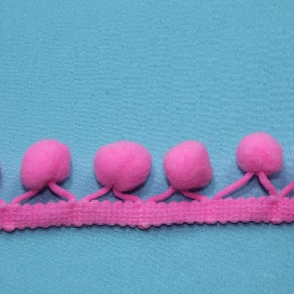 Тесьма декоративная с помпонами розовая, 2,5 см