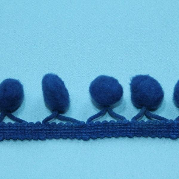 Тесьма декоративная с помпонами синяя, ширина 2,5 см