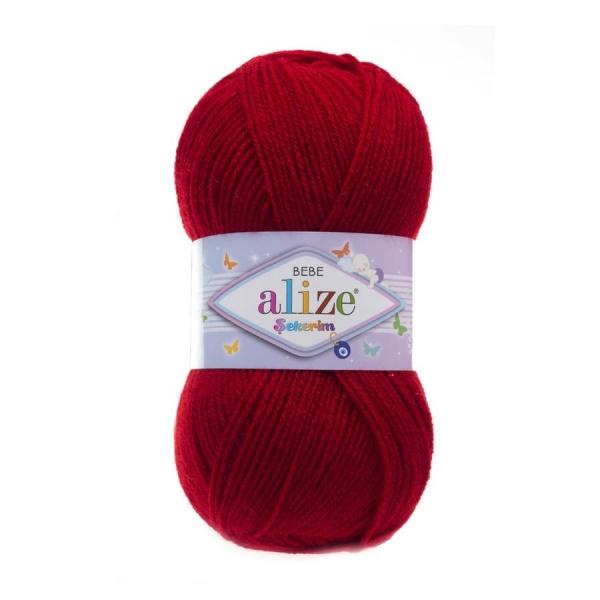 Пряжа Sekerim BEBE (Alize), цвет 106 темно-красный