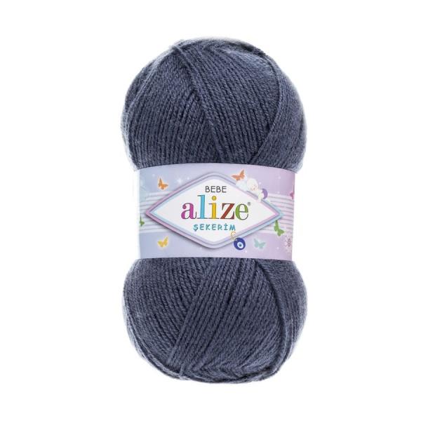 Пряжа Sekerim BEBE  (Alize), цвет 353 темный джинс