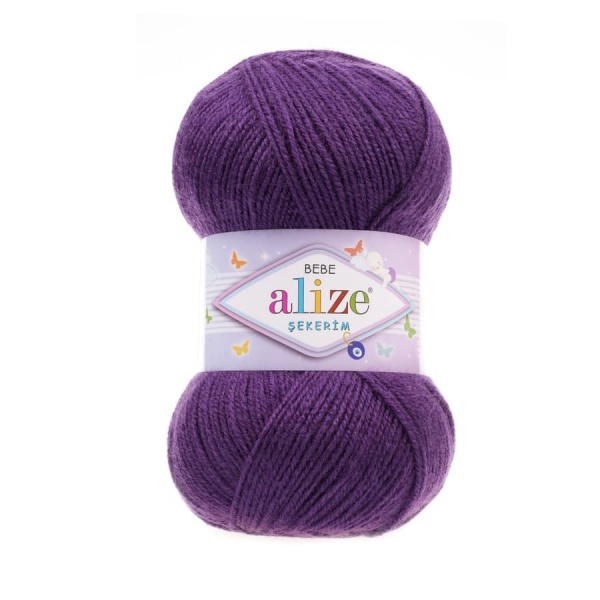 Пряжа Sekerim BEBE  (Alize), цвет 44 темно-фиолетовый