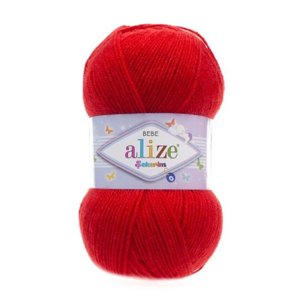 Пряжа Sekerim BEBE  (Alize), цвет 56 красный